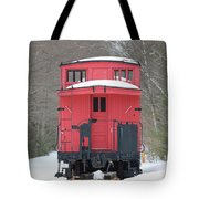 Vintage Red Caboose In Winter Tote Bag