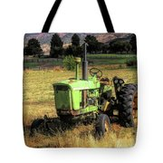 Vintage Tractor In Honeyville Tote Bag by David King