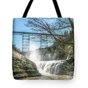 Vintage Train Trestle With Waterfalls Tote Bag