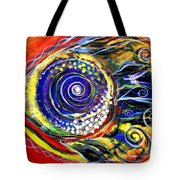 Violet Fish On Red And Yellow Tote Bag