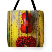 Violin And Heart Wreath Tote Bag