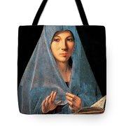 Virgin Of Annunciation Painting By Antonello Di Antonio Dit Antonello Da Messina Tote Bag