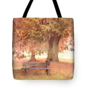Waiting For You In Early Autumn Mists Tote Bag by Debra and Dave Vanderlaan