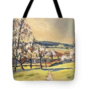 Warm Spring Light In The Fruit Orchard Tote Bag