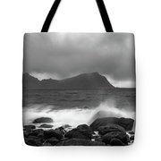 Water Hits The Coastline During Storm Tote Bag