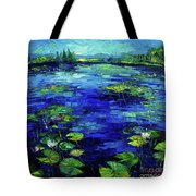 Water Lilies Story Impressionistic Impasto Palette Knife Oil Painting Mona Edulesco Tote Bag