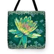 Water Lily And Lace Tote Bag