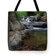 Water Stream On The River With Small Waterfalls Tote Bag