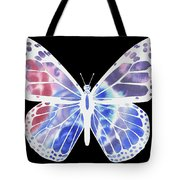 Watercolor Butterfly On Black V Tote Bag