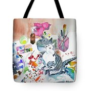Watercolor - Kitten On My Painting Table Tote Bag