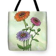Watercolor Orange Pink Purple Zinnia Flowers Tote Bag