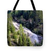 Waterfall In The Mountains. Tote Bag