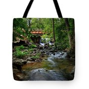 Waterfall With Wooden Bridge Tote Bag