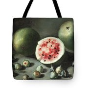 Watermelons And Figs On A Stone Ledge  Tote Bag