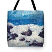Wave Over Rocks Tote Bag