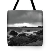 Waves Hitting The Rocks Tote Bag