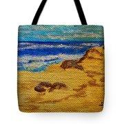 Waves On A Rocky Beach Tote Bag