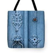 Weathered Blue Door Lock Tote Bag by David Letts