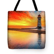 Welsh Lighthouse Sunset Tote Bag by Adrian Evans