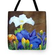 White And Purple Petunia And Marigolds Tote Bag