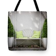 White Bench Made Of Iron With Two Green Bushes On The Side Tote Bag