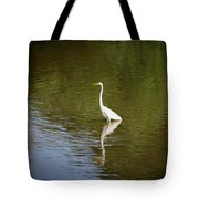 White Egret In Water Tote Bag
