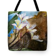 White Flower With Abstract Background Tote Bag