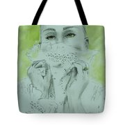 White Lace And Green Eyes Tote Bag
