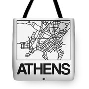 White Map Of Athens Tote Bag