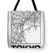 White Map Of Tokyo Tote Bag