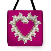 White Orchid Floral Heart Love And Romance Tote Bag by Rose Santuci-Sofranko