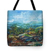 Windy Day In The Grassland. Original Oil Painting Impressionist Landscape. Tote Bag