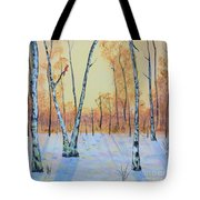 Winter Birches-cardinal Left Tote Bag