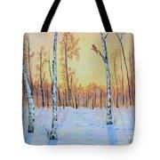 Winter Birches-cardinal Right Tote Bag