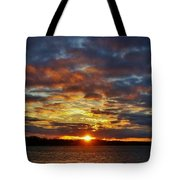 Winter Sunset Over Grand Island Tote Bag