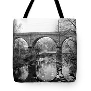 Wissahickon Creek - Reading Viaduct In Black And White Tote Bag