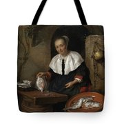 Woman Cleaning Fish Tote Bag