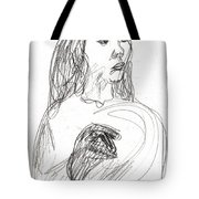 Woman Holding A Hat Tote Bag