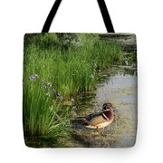 Wood Duck And Iris Tote Bag by Patti Deters