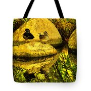 Wood Duck Pair And Their Reflection Tote Bag
