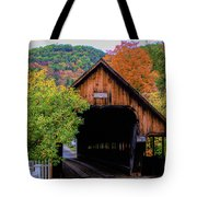 Woodstock Middle Bridge In October Tote Bag by Jeff Folger