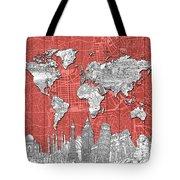 World Map Landmarks Skyline 3 Tote Bag