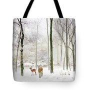 Forest Winter Visitors Tote Bag
