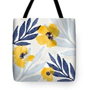 Yellow And Navy 1- Floral Art By Linda Woods Tote Bag