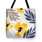 Yellow And Navy 3- Floral Art By Linda Woods Tote Bag