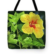 Yellow Hibiscus With Bright Green Leaves Tote Bag