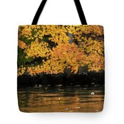 Yellow On Water Tote Bag by Dan Friend