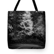 Yellow Tree In The Curve In Black And White Tote Bag