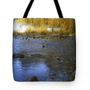 Yosemite River In Yellow Tote Bag