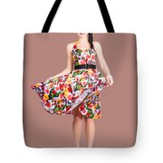 Young Beautiful Dancer Posing On Tan Background Tote Bag